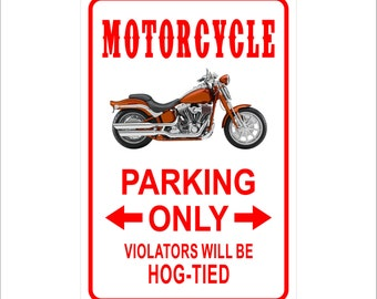 """Motorcycle Parking Only Violators will be Hog-Tied  Metal Sign Aluminum  8"""" x 12"""" Sign"""