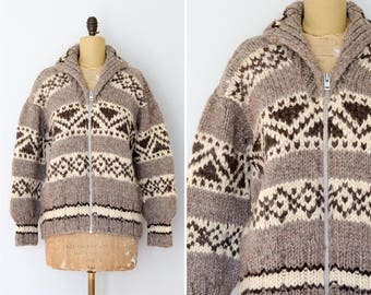 Cowichan Sweater with Geometric Design // Made in Canada - Women's XS/S aikx1ACGKF