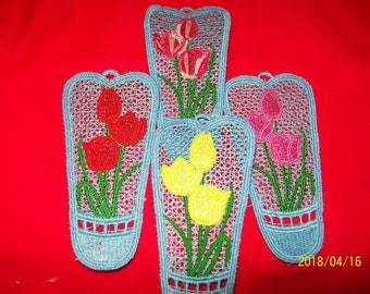 Freestanding lace tulip bookmark, choose color