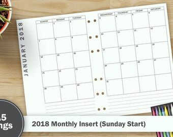 2018 Monthly Calendar - A5 Size (Sunday Start)