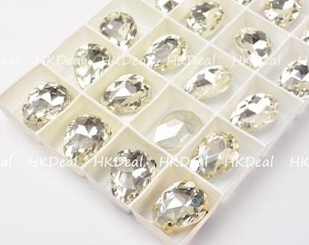 24 Rhinestone 4320 18x13mm Sew on Clear glass Pear Teardrop Crystal Fancy Stone Gold Silver Gunmetal Steel Claw Setting