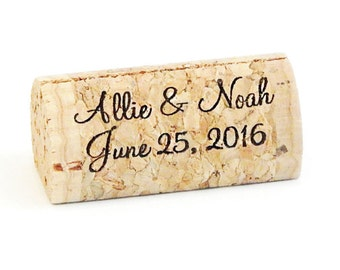 Personalized Wine Cork Place Card Holders, Front Print Only, Cork Card Holder or Escort Card Holder, Made From High Quality Wine Corks