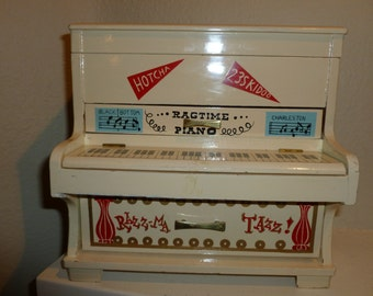 Vintage Upright Wood Piano Jewelry Box From The 1960's