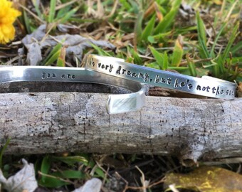 He's very dreamy, but he's not the sun. You are.  / grey's anatomy inspired | hand stamped bracelet | best friends | cuff bracelet | for her