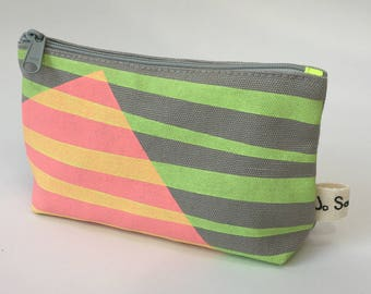Make Up Bag/ Medium/ Cosmetic Bag/ Stripe Neon Print/ Grey/ Neon Pink and Neon Green/ Lined/ Handmade/ Hand Printed