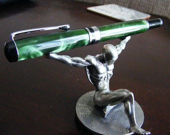 Green acrylic resin fountain pen, hand made, #5 fine steel nib