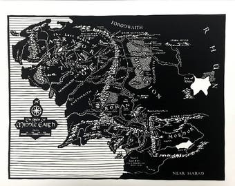 Middle Earth Map | Original Art | Wall Art | Detailed Art | Paper Cut Art | Paper Art | Cut Paper | LOTR | Lord of the Rings Art | Hand Cut