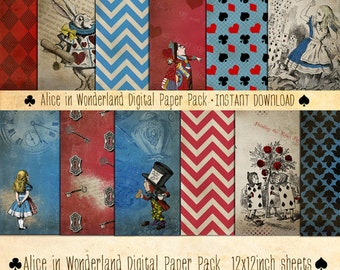 Alice in Wonderland Paper Pack 12 Digital Sheets - INSTANT DOWNLOAD - Mad Hatter Scrapbooking Card Making Birthday Party Decoration