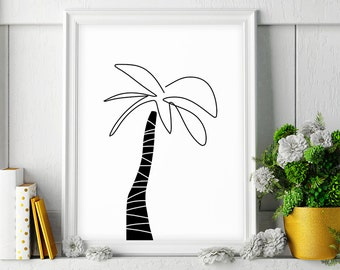 Palm Tree Print, Beach Decor, Black and White Drawing, Palm Tree Art, Palm Tree Decor, Tropical Print, Printable Wall Art, Digital Download