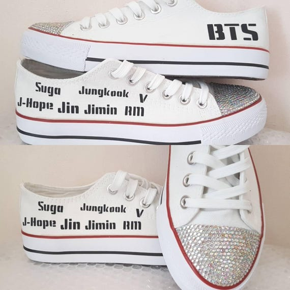UK EU US bangtan boys bts custom made low canvas lace up white shoes kpop fan