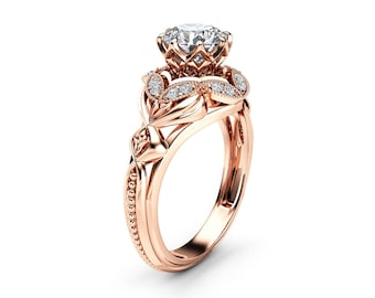 Moissanite Designer Engagement Ring 14K Rose Gold Engagement Ring Diamond Alternative Designer Ring