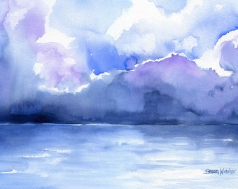 Ocean Watercolor Painting - 7 x 5 - Giclee Print - Abstract Painting