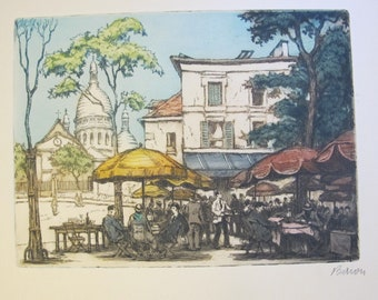 1920's Signed Color Etching by Baron. Tête-à-tête Parisian Scene. Al Fresco Dining Stree City Scene. Original French Art. Signed Etching