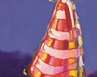 Girl in Striped Coat Original Oil Painting