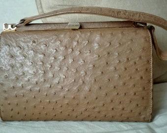 Vintage genuine ostrich leather bag
