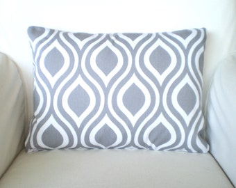 Gray White Lumbar Pillow Cover, Decorative Throw Pillows, Cushions Grey White Nicole, Geometric Pillow, Couch Bed, One 12 x 16 or 12 x 18