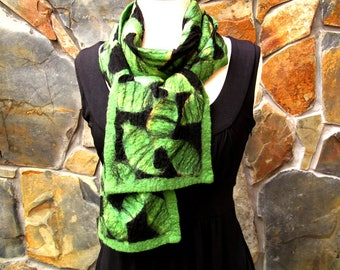 Nuno felt scarf: abstract green merino wool design
