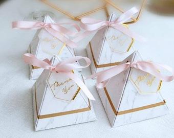 Reversible Marble/Pink & Gold Pyramid Box
