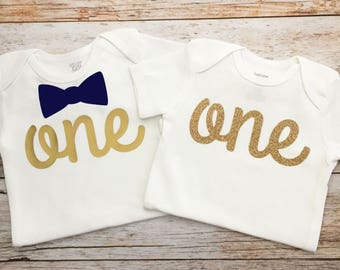 Twin Birthday Shirts (Customize Your Colors), Twins First Birthday, Boy/Girl Twins Birthday Outfit, Twins Birthday Outfit