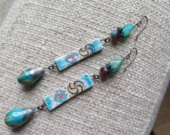 very long earrings, turquoise earrings, bohemian earrings, ceramic earrings, long boho earrings, summer jewelry, summer earrings, present