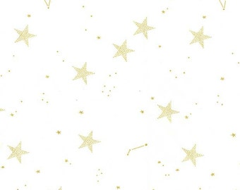 Magic Lucky Stars White METALLIC by Sarah Jane for Michael Miller - Gold Star - Quilting Cotton Fabric - choose your cut