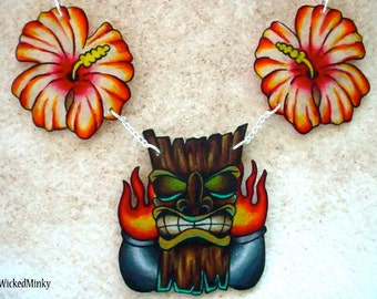 Rockabilly Tiki Necklace with Hibiscus Flowers Chest Piece Tattoo Necklace by WickedMinky NEW