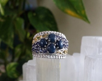 4 Star Kyanite with Tanzanite Statement Ring