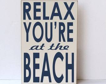 Beach Wall Decor, Subway Sign, Wood Sign, Relax You're At The Beach, Cottage Decor, Beach House Wall Sign, Rustic Sign, Wood Beach Decor