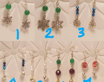 Christmas Earrings, Holiday, Winter Jewelry, Various Gemstones and Crystals, Gifts for Her