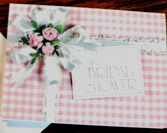 vintage cards ... For YOUR BRIDAL SHOWER pink gingham Card with envelope...