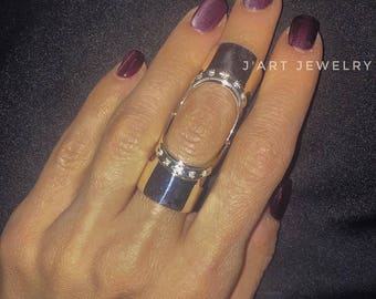 """Double ring, full finger ring, statement ring, sterling silver ring """"Leyla"""""""