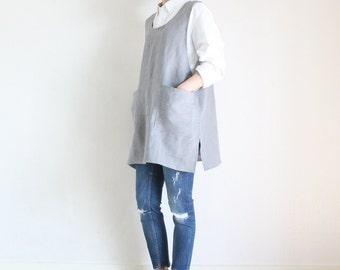 Linen Short Tunic Dress,Light grey