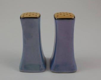Blue and Peach Lusterware Salt & Pepper Shakers