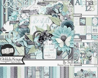On Sale 50% Be Still 12x12 Digital Scrapbooking Kit Bundled Collection