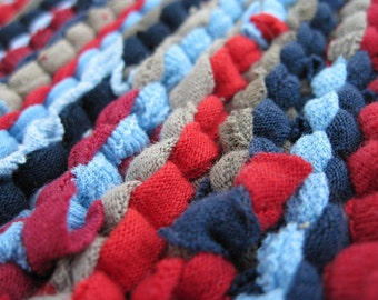 Americana Brights Knitted Trivet Log Cabin Upcycled T Shirts Navy Blue Sky Red Burgundy Tan Kitchen Mat -US Shipping Included