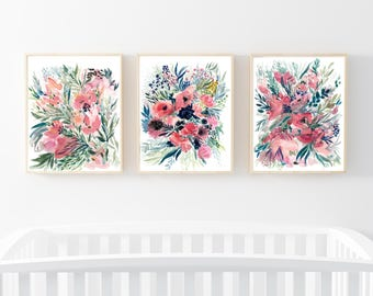 Awesome Set Of 3 Floral Prints,Floral Watercolor,Nursery Wall Art Set,Canvas Wall