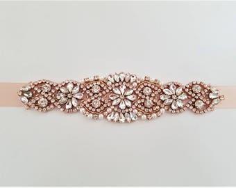 Wedding Belt, Bridal Sash Belt - ROSE GOLD Crystal Pearl Wedding Sash Belt