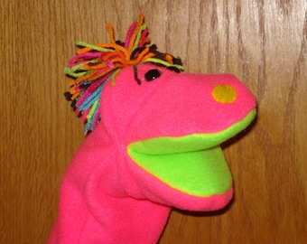 Pinky a Neon Hand Puppet with moveable mouth and colorful neon yarn hair
