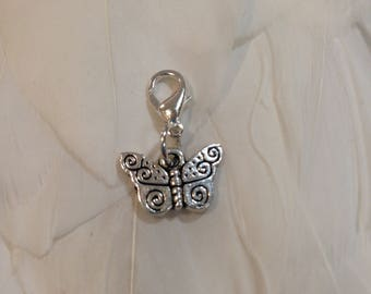 Travelers Notebook SILVER BUTTERFLY Charm.