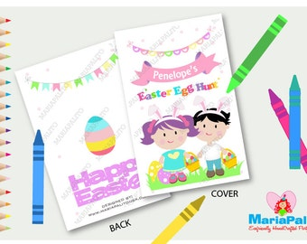 Easter Coloring Books, Easter Egg Hunt Party, Personalized Coloring Books, Fifties Party Favor A1261