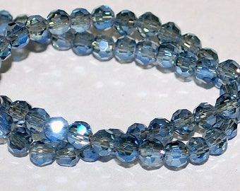 25 pcs 4mm Transparent Light Grey with Cobalt Blue Highlights Multi-Faceted Round Crystal Beads  TG/CH