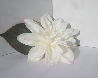 White Dahlia Flower Hair Clip, Pin-Up Hair, Wedding Hair, For Women  and Teens and Girls