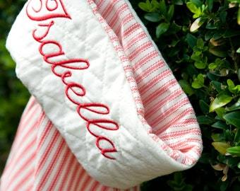Red Ticking Personalised Christmas Stocking