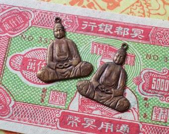 Oxidized Brass Buddha Charm Pendants