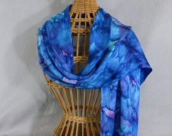 """Silk Scarf/Shawl """"True Blue"""", Hand Painted Silk Jacquard Scarf"""