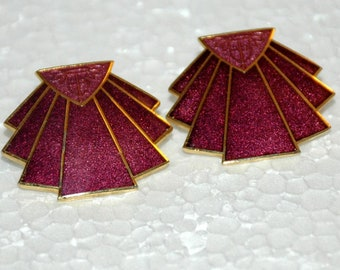 Isle of the Sky Dark Rose Pink Guilloche Enamel Art Deco Fan Earrings