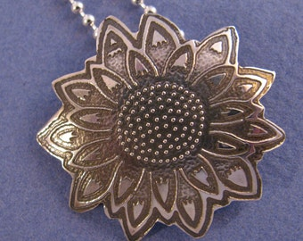 Etched oxidized sterling silver flower pendant necklace