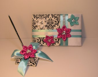 Wedding Guest Book and Pen Set Damask -Custom Made/made to order.