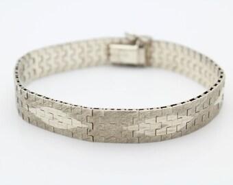 """Unusual Vintage Sterling Silver Modernist Mexico Mesh Link Bracelet 6.5"""". [5841]"""