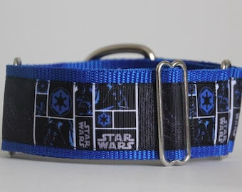 "Greyhound Star Wars on Blue 2"" Martingale Collar"